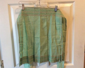 Vintage hand made green gingham apron from the 50's