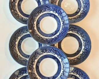 "Blue Willow Plates / 8 Vintage Churchill Blue Willow Saucer Plates England 5.5"" Great for Tea Party, Brunch, Shower, or Wall Display"