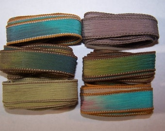 Discontinued/Experimental Ribbons/ Sassy Silks Hand Painted/Dyed Ribbons  Lot 100-0702