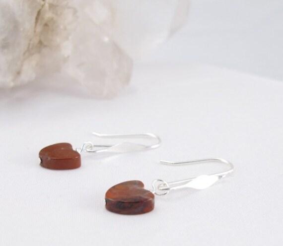 Earrings brecciated jasper hearts on handmade sterling silver earring wires