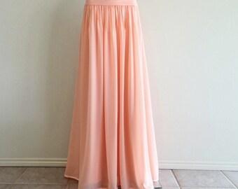 Light Pink Bridesmaid Skirt. Chiffon Floor Length Skirt. Light Pink Maxi Skirt. Long Evening Skirt.
