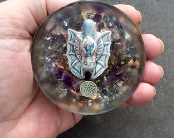 Dragon Serpent  Talisman, Amethyst, Raku Dragon, Raku Pentacle,  Colored beads, approx 3.8 ounces, Lucky and Protective, Personal Size.