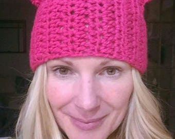 Pussyhat - Pink Cat Slouchy Hat -  Pink Cat Beanie - Pussyhat Project - Feminism Hat - Womens Day Hat - Pink Cat Ears - Cat Hat