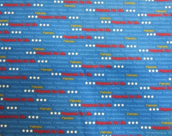 Blue Printed Words Boy Scouts of America Fabric By The Yard