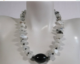 ON SALE 20% OFF Chunky Beaded Necklace, Moonstone, Black Onyx Focal, .925 Sterling Silver