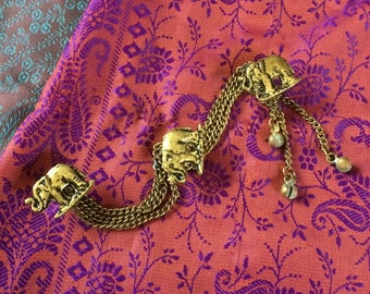 Marching Elephant Vintage Brass Button Chain for Blouse