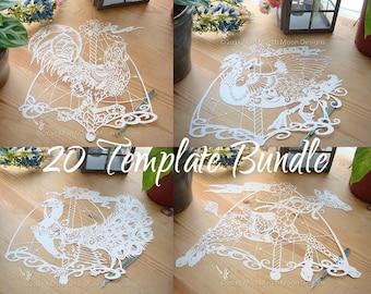 20 Carousel Animal Papercutting Templates Bundle #1, 20 template Bundle, commercial use, horse, pig, elephant, bear, turtle, cat, unicorn