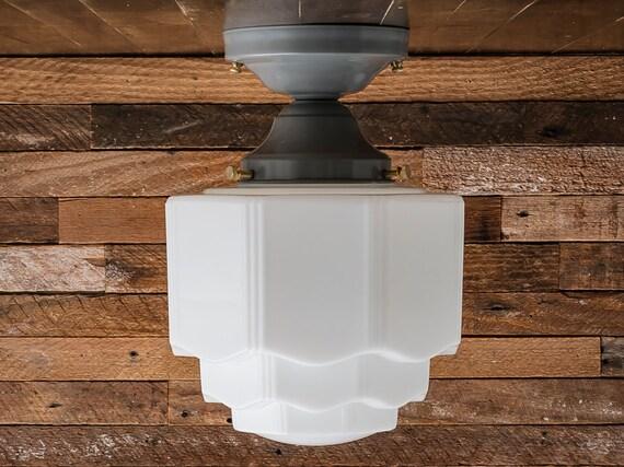 Semi Flush Ceiling Lights Glass Brass Fixture Bathroom: Vintage Rewired Art Deco Semi Flush Mount Ceiling Light Milk