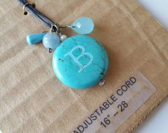 SALE Turquoise pendant stone with sandblasted initial B