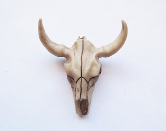 Cow Skull Pendant Resin with Silver loop #BB-skull