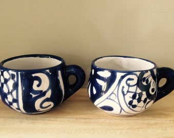 vintage Mexican pottery blue & white coffee mugs