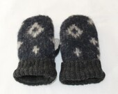 Toddler Wool Mittens - Wool Felted Mittens - Black Sweater Mittens - Fleece Lined Mittens - Unisex