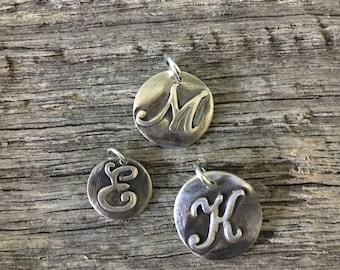 Silver Raised Initial Charm Pendant