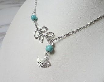 Natural turquoise leaves clavicle necklace 942