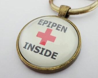 Medical alert, medical jewelry, epipen inside, allergy jewelry, allergy warning, nut allergy, epipen bag tag,insulin inside,sos, ICE,keyring