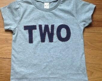 Two Boy Birthday Shirt Retro Theme Birthday Shirt TWO Birthday Shirt Short Sleeve Solid Color TWO