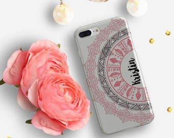 Monogram clear iPhone case, Mandala iPhone SE case, Pink iPhone 5s case transparent, Protective  iPhone 5 plastic case TPU bumpers (1743)