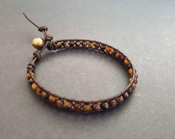 Tiger eye Brown   Leather Bracelet