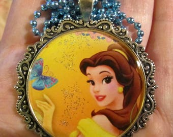 Belle Necklace-Princess Jewelry-Butterfly-Handmade Resin Pendant Jewelry