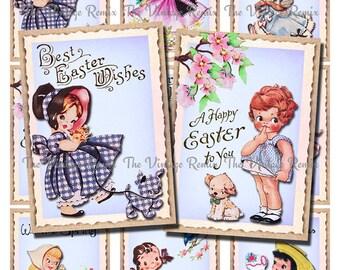 Printable Easter Girl Tags, Vintage Inspired Digital Collage Sheet, Instant Download, Easter Spring Decor, Set of 9.