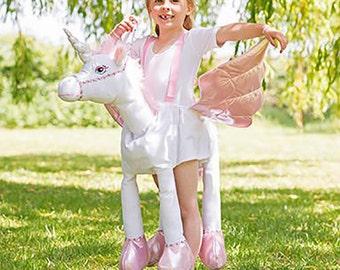 Kids unicorn costume, fantasy fancy dress, children's pretend play, unicorn outfit, fairy tale party supplies, ride on unicorn suit.