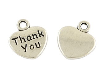 Thank You Charms-Jewelry Tags-Metal Jewelry Tags-Word Charms-Bulk Charms-Wholesale Charms-100pcs