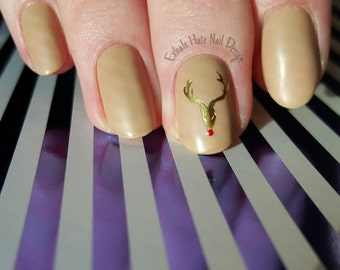 Matte Nude with Gold Foil Reindeer - Gel Nails - Fake Nails - Press Ons - Glue on Nails - Stiletto, Oval, Almond, Coffin, Square
