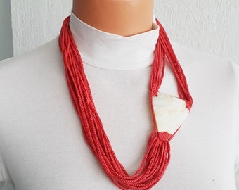 Red Fashion Necklace Pearl sea shell ,mother of pearl nacre  - Bridal jewelry, Bridesmaid jewelry / with nacre, 100% Cotton,  Unique