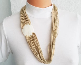 Beige Fashion Pearl sea shell necklace scarf ,mother of pearl nacre  - Bridal jewelry, Bridesmaid jewelry / with nacre, 100% Cotton,  Unique