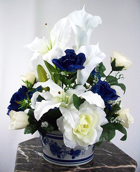 Calla lily roses silk flower arrangements small arrangement