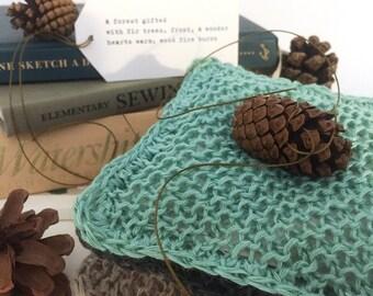 Balsam Fir Sachet Trio with Forest Haiku Poetry, Hand Knit Linen, Aqua, Slate, Khaki, Perfect Little Gifts