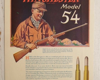 ON SALE 1925, Winchester Model 54, ad from National Sportsman Magazine, Vintage