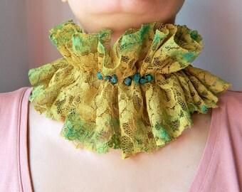 Lime Green fabric choker, Hand painted Lace choker collar with amazonite beads, Edwardian Ruffle collar Lace collar, Wide choker, Neck ruff