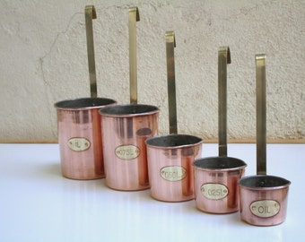 Complete Chef's Set 5 Vintage French Copper Measures with Hanging Handles  - Vintage Copper Measuring Cups - Vintage Kitchenalia -