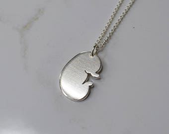 Sterling Silver Kidney Necklace, Recycled Silver Kidney Charm, Kidney Transplant Necklace, Dialysis Necklace
