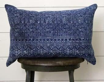 Indigo Blue Batik Lumbar Pillow with Feather & Down Insert . Fixer Upper Decor . Modern Farmhouse . Boho Chic Cottage . Bohemian