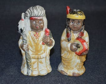 Vintage Native American Indians Salt and Pepper Shakers