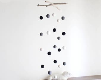 Gray, White and Black Felt Balls Mobile -- Baby Mobile with Driftwood and Felt Poms -- Rustic Natural Nursery -- Ready to Ship