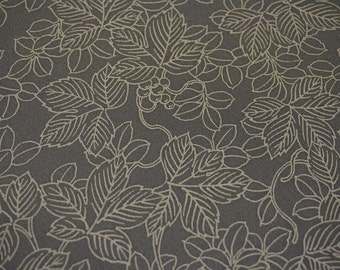 Grey Nandina Vintage Japanese Tango chirimen silk kimono fabric