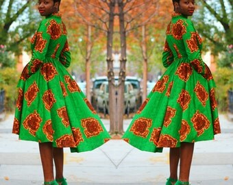 JACKIE - African Ankara Wax Print Fabric High Low Green Wrap Jacket/Dress SM-XXL