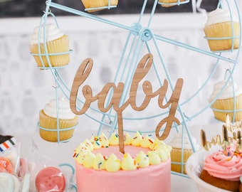 Baby Cake Topper, Baby Shower Cake Topper, Cute Cake Topper, Gender Neutral Baby Shower, Wood Cake Topper, Newborn Cake Topper