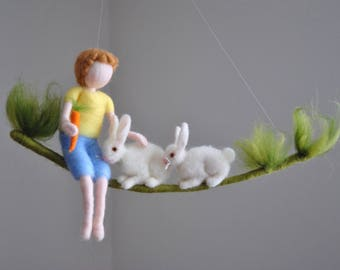 Nursery Mobile  / Wall Hanging Newborn Gift Room decoration : Boy with carrot and rabbits