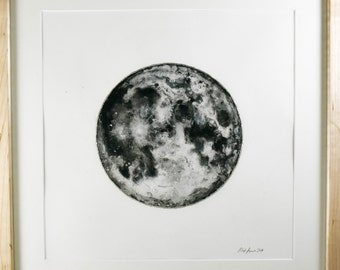 Moon / Original Painting / Ink, Salt, Acrylic, and Silver Leaf / Framed and Ready to Hang / Maple Frame