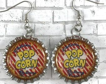 Retro Popcorn Earrings Retro Advertisement Food Earrings Bottle Cap Earrings Repurposed Jewelry Cinema Earrings Carnival Jewelry