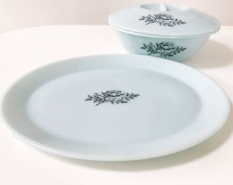 Rare Vintage Phoenix Glass Pale Blue Rose Design Serving Platter