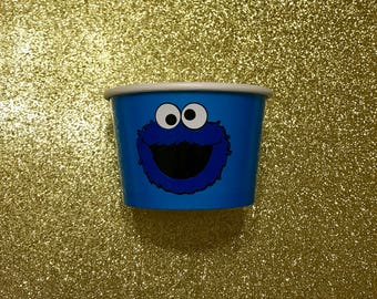 1- 8 oz Cookie Monster Candy Party Favor Container Paper Bowl