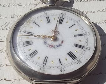 Antique Vintage French Pocket watch Silver engraved fob Time Piece enamelled face