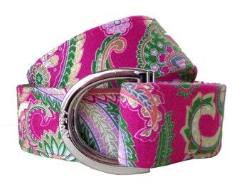 Golden Pink Paisley Pattern Fabric Belt/ Fabric Belt/Woman's D-Ring Belt/ Colorful Belt/ Canvas Belt/ Preppy Belt/Paisley Ribbon D-Ring Belt