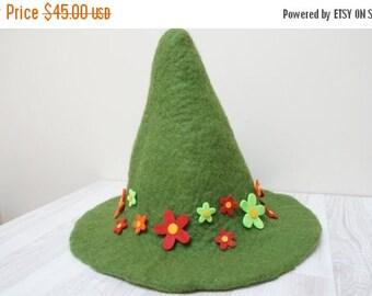 HALLOWEEN SALE Snufkin hat green felted with felt wool flowers feather rose brooch sauna cap tribal Valentine Christmas carnival festival tr