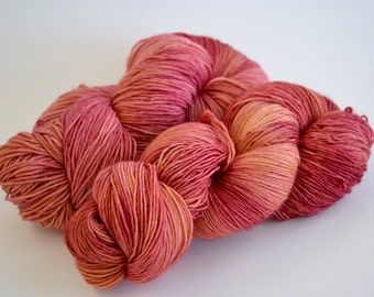 Hand dyed yarn pick your base - Tea Rose - sw merino cashmere nylon fingering dk worsted